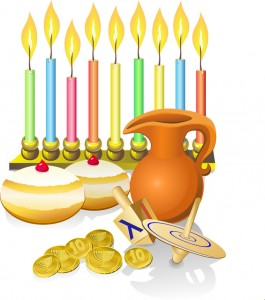 hanukkah candles, donuts, oil pitcher and spinning top